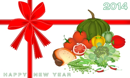 An Illustration Various Kind of Vegetable and Vitamin Foods for 2014 New Year Greeting Card and Voucher Vector