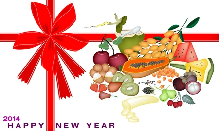 An Illustration Various Kind of Mineral Foods or Fruit for 2014 New Year Greeting Card and Voucher Vector
