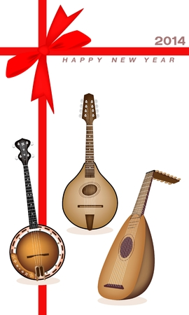 bluegrass: An Illustration of A Beautiful Antique Musical Instrument Strings, Bluegrass Mandolin, Banjo and Lute on 2014 New Year Card  Illustration