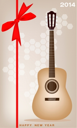 A Beautiful Single Classical Guitar on 2014 New Year Card  Vector