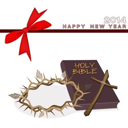 cruz de madera: Una ilustraci�n de Brown Cubierta Biblia con la cruz de madera y una corona de espina de 2014 Nueva tarjeta de felicitaci�n de A�o Vectores