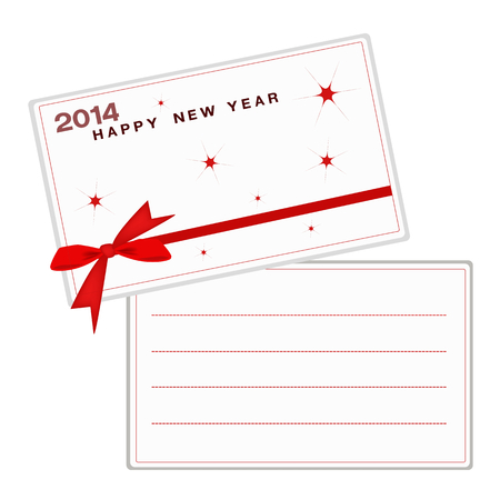2014, New Year Greeting Cards with Red Bows and Ribbon, Copy Space for Text Decorated  Vector