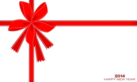 2014, Happy New Year Card with Red Bows and Ribbon, Copy Space for Text Decorated  Illustration