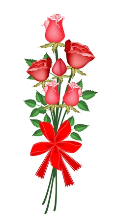 Symbol of Love and Luxury, An Illustration of Beautiful Red Rose Boquet with Red Ribbon and Bow for Someone Special  Vector