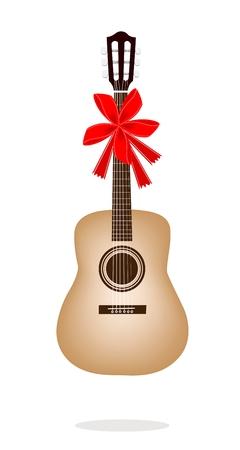 guitarra clásica: Un ejemplo de una guitarra sola cl�sico con cinta roja y arco, un regalo perfecto o regalo para alguien especial Vectores
