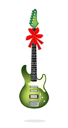 An Illustration of A Single Green Electric Guitar with Red Ribbon and Bow, A Perfect Gift or Present for Someone Special  Vector