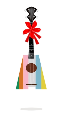 Colorful Ukulele Guitar with Red Ribbon and Bow, A Perfect Gift or Present for Someone Special  Vector