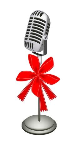 rueda de prensa: Micr�fono en estilo retro con cinta roja y arco, un regalo perfecto o regalo para alguien especial