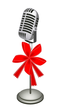 Microphone in Retro Style with Red Ribbon and Bow, A Perfect Gift or Present for Someone Special  Vector