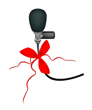 Wireless Microphone in Modern Style with Red Ribbon and Bow, A Perfect Gift or Present for Someone Special  Vector