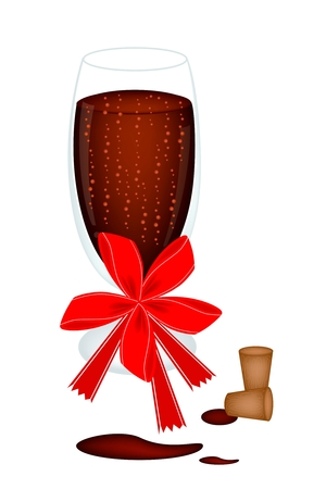 winetasting: Glass of Red Wine With Bow and Ribbon for Celebration and Party Illustration