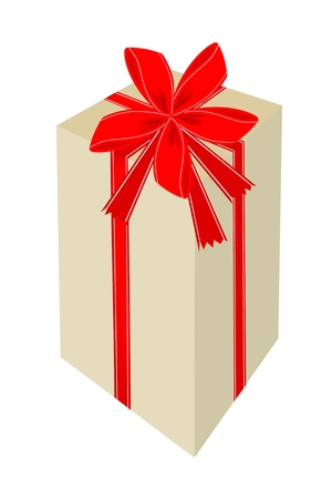 Lovely Tall Gift Box with Red Ribbon and Bow, A Perfect Gift or Present for Someone Special  Vector