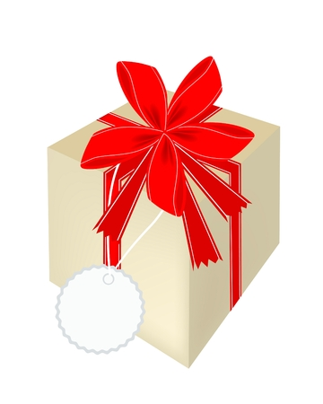 Lovely Gift Box with Red Ribbon and Blank Gift Tag, A Perfect Gift or Present for Someone Special  Vector