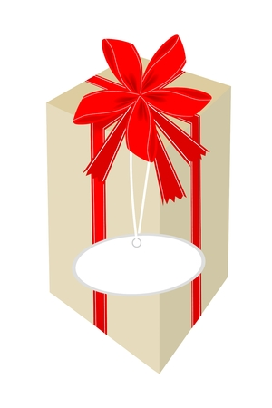 Lovely Tall Gift Box with Red Ribbon and Blank Gift Tag, A Perfect Gift or Present for Someone Special  Vector