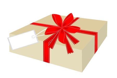 Gift Box with Red Ribbon and Blank Gift Tag, A Perfect Gift or Present for Someone Special  Vector