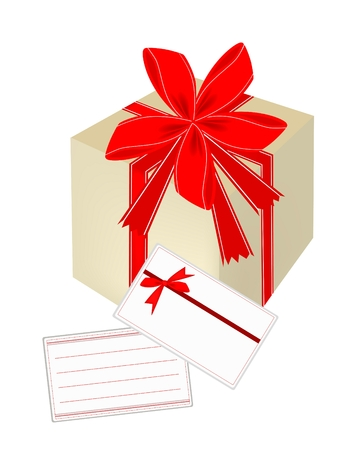 Gift Box with Red Ribbon and A Blank Greeting Card, A Perfect Gift or Present for Someone Special  Vector