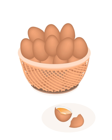 cracked egg: Fresh Chicken Eggs in A Wicker Basket and Cracked Egg on White Backgrounds Illustration