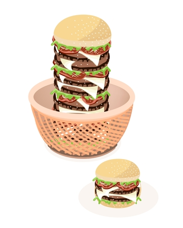 american cuisine: Delicious Gigantic Cheese Burgery in A Wicker Basket Illustration