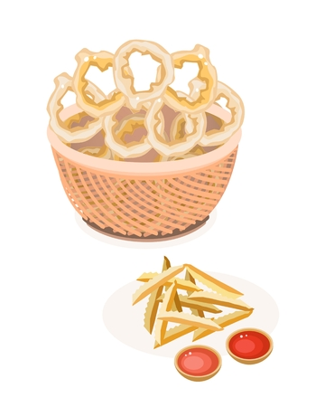 Fast Food, An Illustration of A Golden Pile of French Fries with A Wicker Basket of Onion Ring Vector