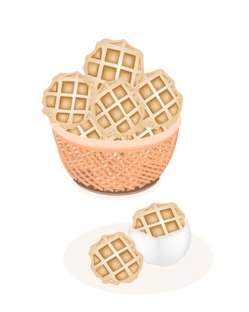 belgian waffle: Sweet Food and Dessert Food, Freshly Homemade Baked Waffles in A Wicker Basket