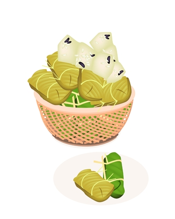 thai dessert: Thai Dessert of Freshly Homemade of Bananas in Sticky Rice Made From Bananas and Glutinous Rice, Wrap with Banana Leaves in A Wicker Basket  Illustration