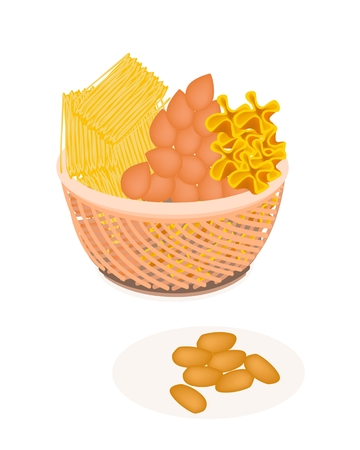 sweetmeat: Wicker Basket of Sweet Food and Dessert Food of Thai Style Handmade Golden Sweet Meat in Four Assorted Flavors