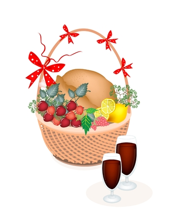 Garnished Roasted Turkey with Berry Fruit, Lemon, Herb and Wine on A Beautiful Wicker Basket for Thanksgiving Holiday Dinner  Vector