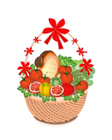 Various Kind of Vegetable and Vitamin Foods on A Beautiful Wicker Basket for Someone Special  Vector