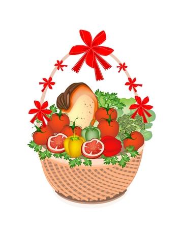 Verschiedene Arten von Gemüse und Vitamin Foods an einem schönen Weidenkorb für Someone Special