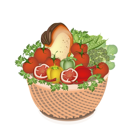 Various Kind of Vegetable and Vitamin Foods on A Beautiful Wicker Basket Vector
