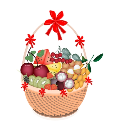 gift basket: Various Kind of Mineral Foods or Fruit on A Beautiful Wicker Basket for Someone Special  Illustration
