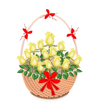 Symbol of Love and Luxury, An Illustration of Beautiful Yellow Rose Boquet with Red Ribbon and Bow on A Beautiful Wicker Basket for Someone Special  illustration