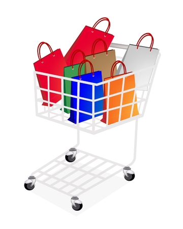 A Shopping Cart Full with Various Colorsful Paper Shopping Bag or Gift Bag Isolated on White Background  Vector