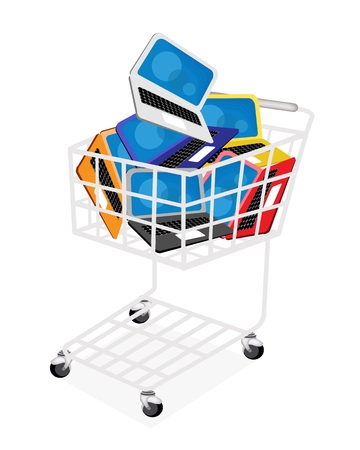 A Shopping Cart Full with Vaus Color of Laptop Computer or Computer Notebook Isolated on White Background  Stock Vector - 22773610