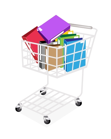 A Shopping Cart Full with Various Color of File Folder Icons or Office Foloder for Backups and Storing of Data Isolated on White Background Stock Vector - 22773612