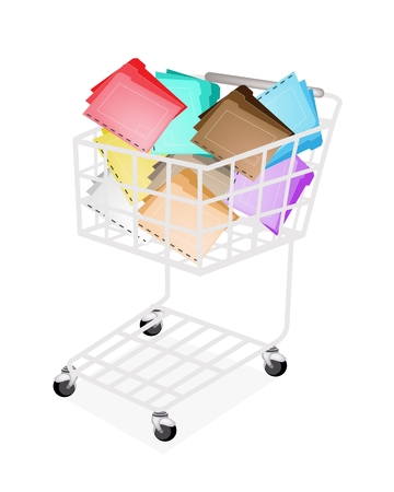 tabbed folder: A Shopping Cart Full with Various Color of File Folder Icons or Office Foloder for Backups and Storing of Data Isolated on White Background  Illustration