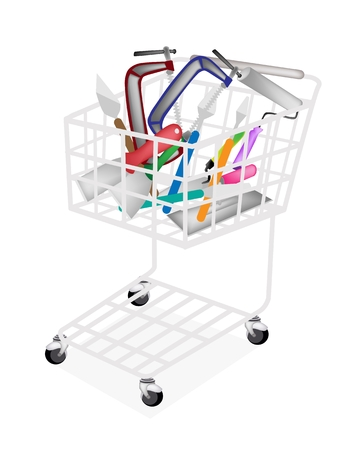 tang: A Shopping Cart Full with Builder Tools or Hand Tools, Trowel, Putty Knife, Paint Scraper and Paint Roller for Construction Illustration