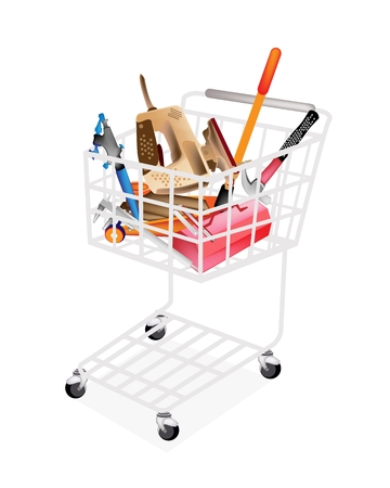 A Shopping Cart Full with Various Type of Auto Service and Repair Tool Kits, Airbrush, Vernier Caliper, Metal Toolbox, Hammer, Electrical Jigsaw and Floor Jack or Car Jack Tool Isolated on White Backgrounds  Vector