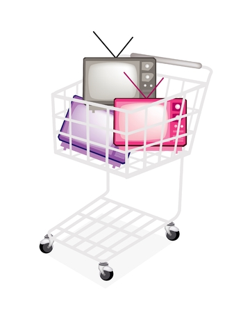 A Shopping Cart Full with Various Colors of Retro Television Isolated on White Background Stock Vector - 22773618