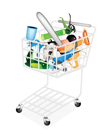caulk: Capenter Tools, A Shopping Cart Full with Hot Glue Gun, Caulking Gun, Airbrush Painting, Oil Can, Cordless Drill or Screwdriver, Electric Angle Grinder and Chainsaw for Home Improvement