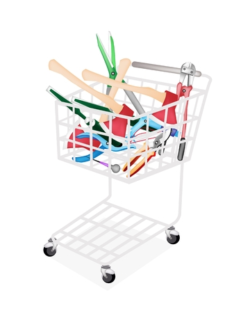 awl: A Shopping Cart Full with Carpenter Craft Tools, Axe, Eyelet Punch, Rasp and Awl Isolated on White Background