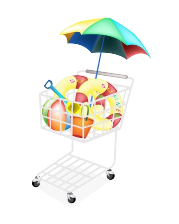 floating market: A Shopping Cart Full with Various Beach Items, Beach Ball, Inner Tube, Umbrella, Deck Chair, Beach Bucket and Spade