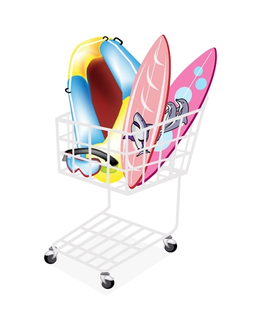 raft: A Shopping Cart Full with Inflatable Boat or Inflatable Raft, Surfboards and Scuba Mask Isolated on White Background