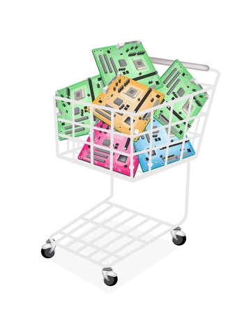 pci: A Shopping Cart Full with Various Colors Computer Mother Board or Computer Mainboard, Green, Pink, Blue and Yellow Isolated on White Background
