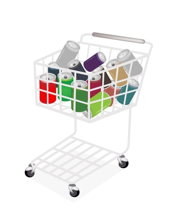A Shopping Cart Full with Soda Cans in Ten Assorted Tastes Vector