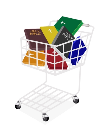 A Shopping Cart Full with Various Colors of Covered Bible  Vector
