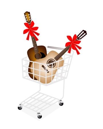 guitarra clásica: Una cesta de compras por completo con la guitarra cl�sica y guitarra ac�stica decoraci�n con cintas rojas y lazos, el regalo perfecto o regalo para alguien especial. Vectores
