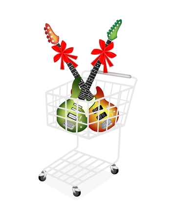 A Shopping Cart Full with Two Electric Guitars Decoration with Red Ribbons and Bows, Perfect Gift or Present for Someone Special.  Vector