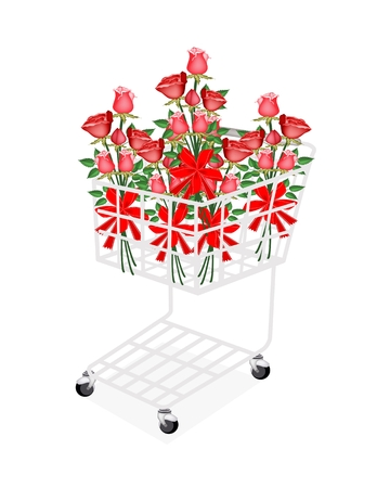 A Symbol of Love and Luxury, A Shopping Cart Full with Beautiful Red Rose Boquets Decoration with Red Ribbons and Bows for Someone Special.  photo