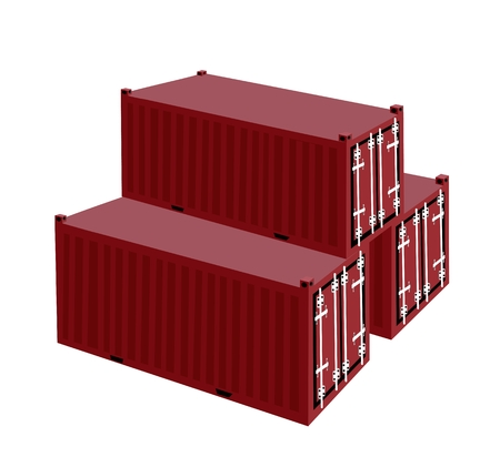 Three Cargo Containers or Freight Containers for Portable Storage, Overseas Shipping or Mobile Office.  Vector